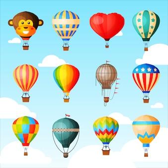 Ballon vecteur dessin animé ballon à air ou aérostat avec panier volant dans le ciel et jeu d'illustration de vol aventure en montgolfière