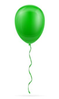 Ballon vert de célébration pompé à l'hélium avec ruban sur blanc