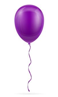 Ballon violet de célébration pompé à l'hélium avec ruban sur blanc