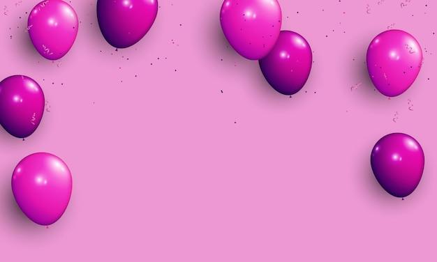 Ballon violet avec fond de confettis.