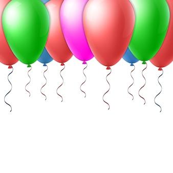 Ballon de vol abstrait concept créatif vecteur avec ruban