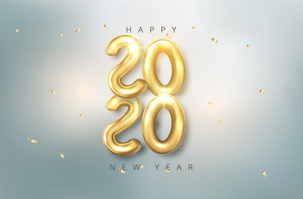 Ballons de 2020 réalistes de vecteur dans un style 3d en couleur or. conception de carte de voeux