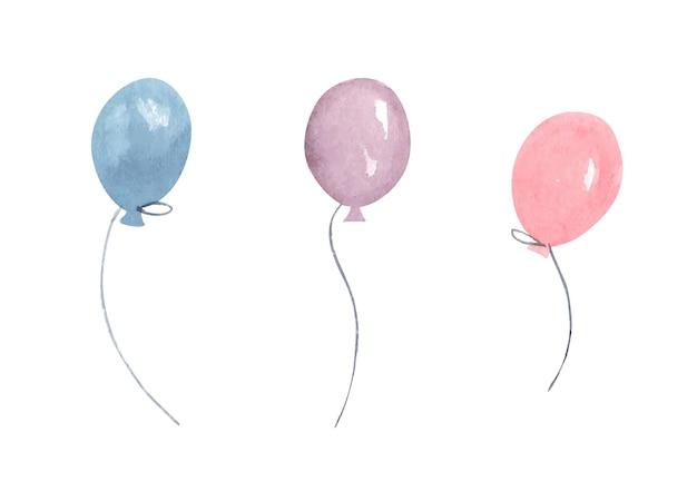Ballons à air aquarelle. décor de salutation.