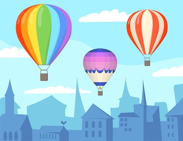 Ballons à air au-dessus de l'illustration de dessin animé de ville