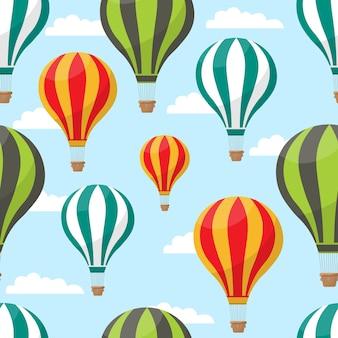 Ballons à air chaud de dessin animé en illustration de modèle sans couture de ciel bleu