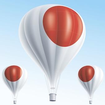 Ballons à air chaud peints comme drapeau du japon