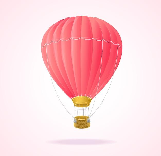 Ballons à air chaud roses isolés sur fond blanc.