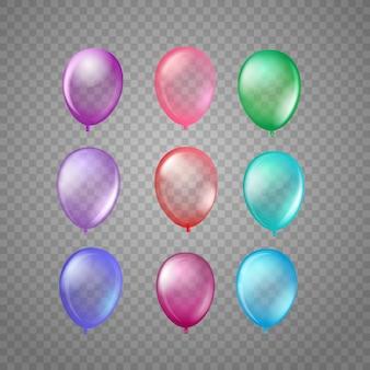 Ballons à air de couleurs différentes isolés sur tranparent