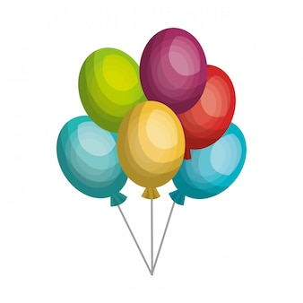 Ballons air fête icône isolé icône