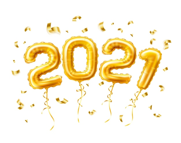 Ballons à air or réalistes 2021 avec confettis nouvel an, modèle de célébration joyeux noël.