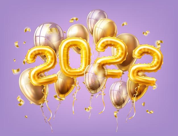Ballons à air rose 2022 réalistes de vecteur avec des confettis nouvel an, éléments de conception de décoration de célébration de joyeux noël. fête de noël traditionnelle salutation symboles illustration fond violet