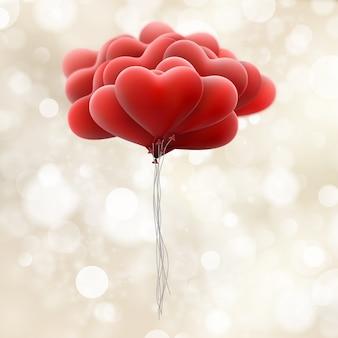 Ballons d'amour rouges.
