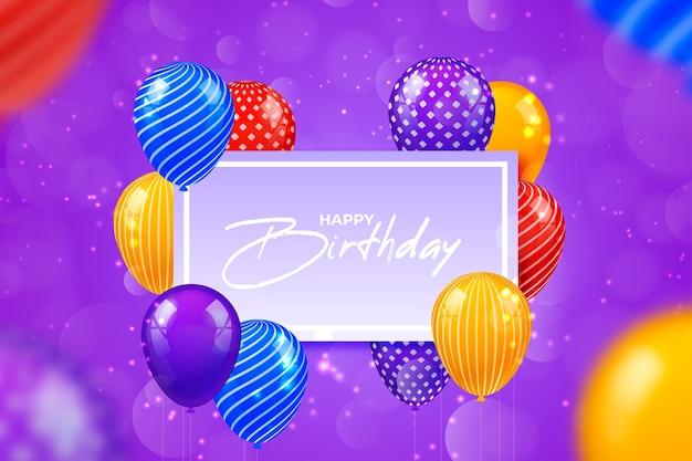Ballons d'anniversaire colorés réalistes