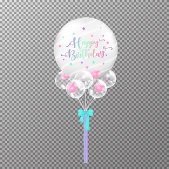 Ballons anniversaire sur fond transparent.