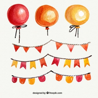 Ballons d'aquarelle avec des guirlandes