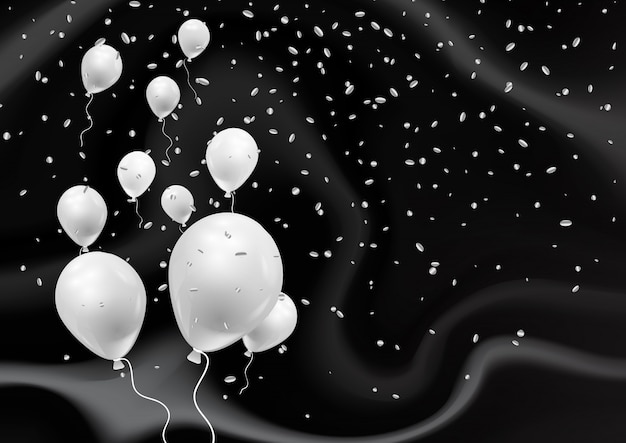 Ballons argentés sur une élégante texture de marbre noir