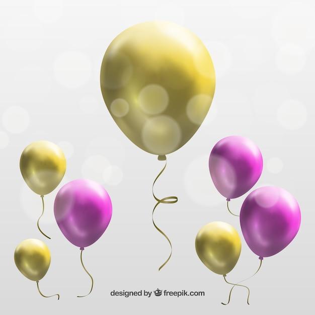 Ballons aux couleurs roses et d'or