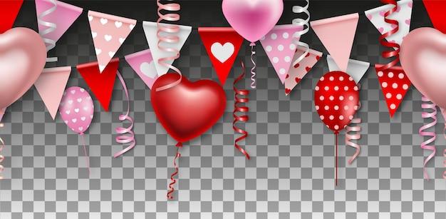 Ballons avec des banderoles et des fanions sur fond transparent