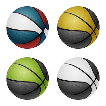 Ballons de basket-ball de couleur combinée. isolé sur blanc.