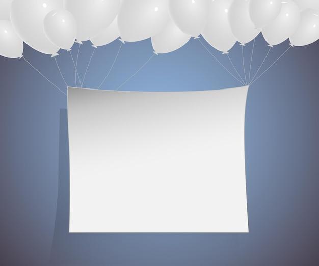 Ballons blancs avec surface de modèle blanc vierge illustration vectorielle sur fond dégradé bleu