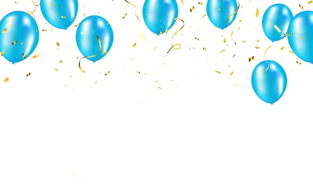 Ballons bleus, confettis or concept design modèle vacances happy day, célébration d'arrière-plan