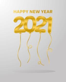 Ballons de bonne année 2021, bienvenue, fête et salutation