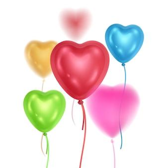 Ballons brillants 3d réalistes de couleurs arc-en-ciel avec effet de flou ballons en forme de coeurs