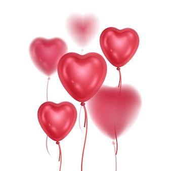 Ballons brillants 3d réalistes de couleurs roses avec effet de flou ballons en forme de coeurs