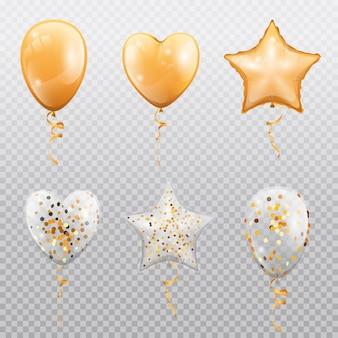 Ballons brillants avec des confettis isolés sur fond transparent vecteur coeur doré étoile ou cercle