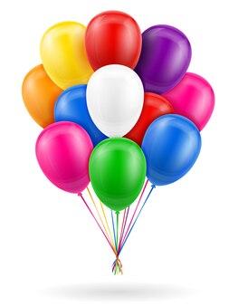 Ballons de célébration pompés à l'hélium avec ruban sur blanc