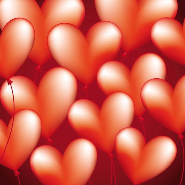 Ballons coeur au cours de l'illustration vectorielle fond rouge