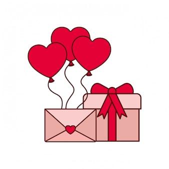 Ballons coeur avec icône isolé boîte cadeau