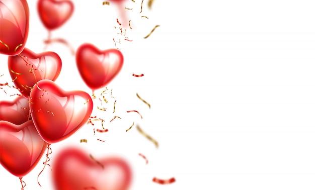 Ballons coeur réalistes avec des confettis dorés pour un design romantique