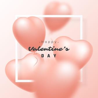 Ballons coeur rose réaliste 3d avec effet de flou et cadre blanc. vacances de la saint-valentin.