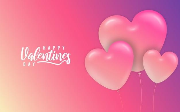 Ballons coeurs roses saint valentin abstrait