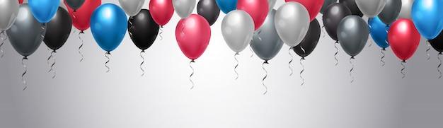 Ballons colorés décoration sur fond horizontal modèle