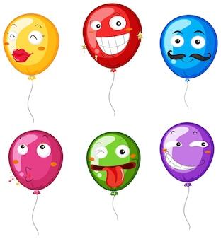Ballons colorés avec des expressions faciales
