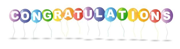Ballons colorés et félicitations de mot