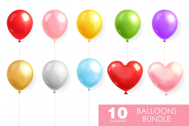 Ballons colorés mis en réaliste, ballon d'hélium