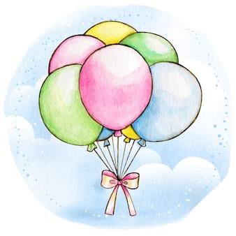 Ballons colorés pastel aquarelle avec noeud