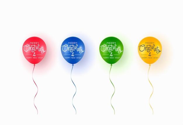 Ballons colorés réalistes avec texte joyeux noël isolé sur fond blanc.