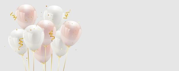 Ballons de confettis roses et blancs et de rubans dorés.