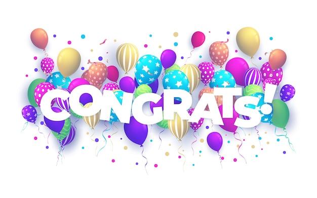 Ballons avec confettis et texte félicitations