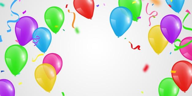 Ballons de couleur, modèle de conception de concept de confettis vacances happy day