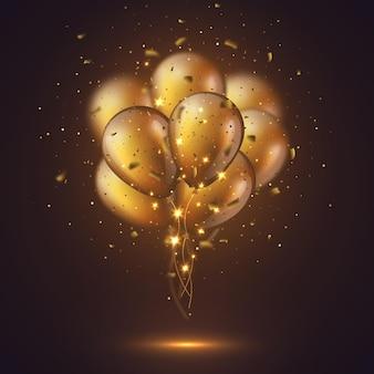 Ballons dorés brillants 3d réalistes avec des confettis et des lumières incandescentes. élément décoratif, effet de flou.