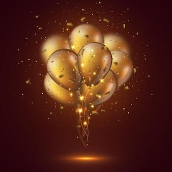Ballons dorés brillants 3d réalistes avec des confettis et des lumières rougeoyantes. élément décoratif pour la conception d'invitations à une fête, effet de flou. illustration vectorielle.