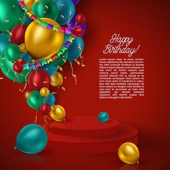 Ballons de fête de luxe et confettis sur fond rouge. modèle de fête ou d'anniversaire