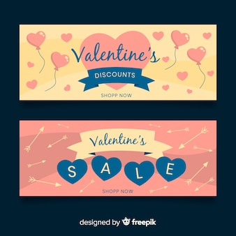 Ballons et flèches bannière de vente saint-valentin