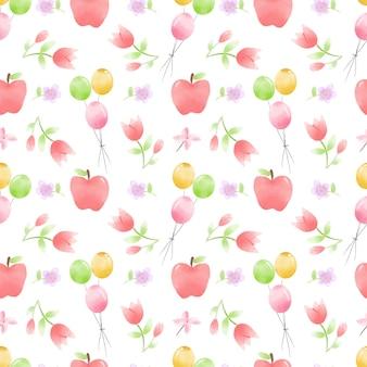 Ballons, fleurs et pommes modèle sans couture aquarelle