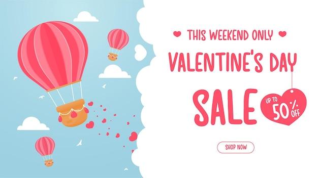Des ballons flottent dans le ciel pour saupoudrer des coeurs rouges d'amour. idées d'offres spéciales pour la saint-valentin